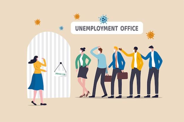 Chômage, sans emploi ou licenciement en raison d'un pathogène pandémique du coronavirus.
