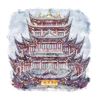 Chongqing chine aquarelle croquis illustration dessinée à la main