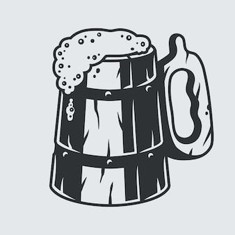 Chope à bière en bois rétro avec menu de bar en mousse