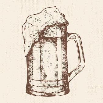 Chope de bière mousseuse dessinée à la main