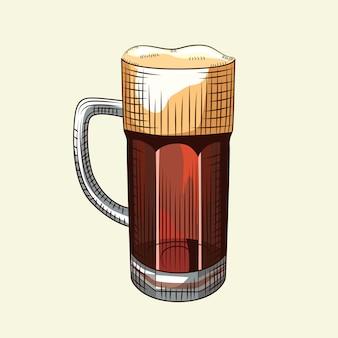 Chope à bière pleine avec mousse isolé sur fond clair. verre de bière brune de style dessiné à la main.
