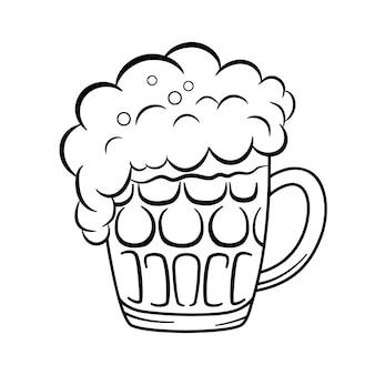 Chope de bière en verre avec de la mousse.