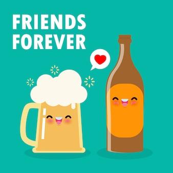 Chope drôle de bière et bouteille de bière personnages de dessins animés mignons