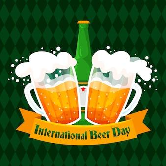 Chopes de bière et bouteille design plat