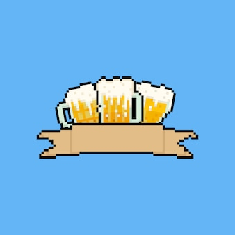 Chopes à bière pixel art avec ruban marron.