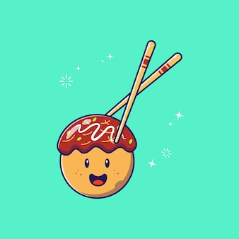 Chopstick holding cute happy takoyaki octopus balls icône plate illustration isolé