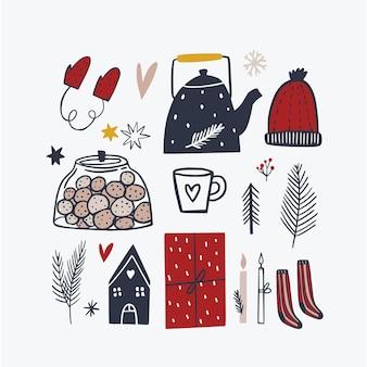 Chose de noël dessinés à la main illustration de célébration de vecteur oeuvre d'art créative ensemble d'hiver