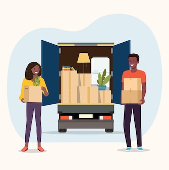 Choses en boîte dans le coffre du camion. l'homme et la femme afro-américains tiennent des boîtes. illustration vectorielle