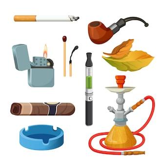 Choses pour fumer une collection colorée réaliste sur blanc. ensemble de croquis de tabac et de fumer. affiche de cigarettes, cigares, narguilés, feuilles de tabac, pipe de cérémonie, briquet et cendrier.