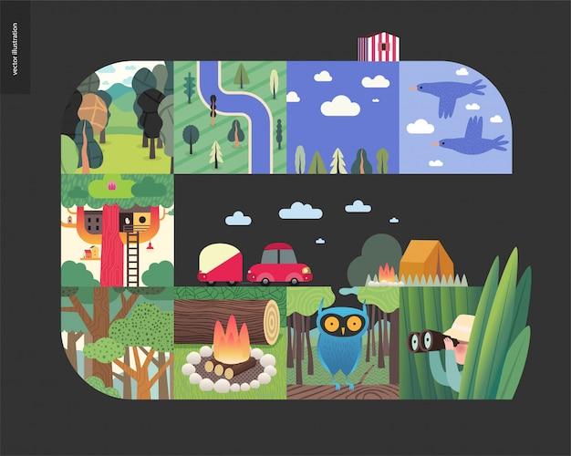 Choses simples - composition de jeu de forêt sur fond noir