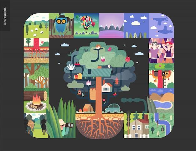 Choses simples, composition de jeu de forêt sur un fond noir