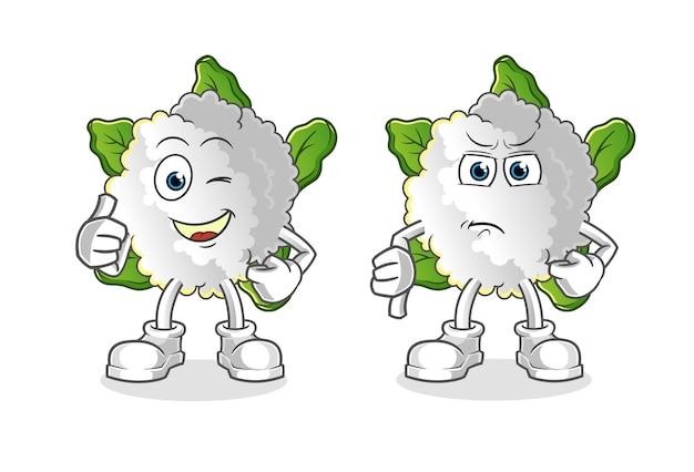 Chou-fleur pouces vers le haut et les pouces vers le bas cartoon