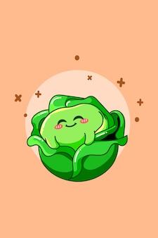 Chou mignon en illustration de dessin animé de jour végétarien