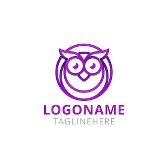 Chouette animal monoline logo design