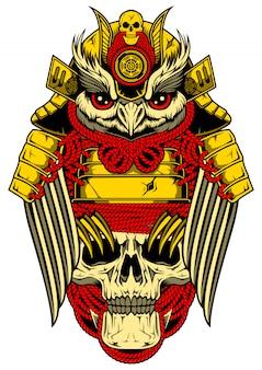 Chouette avec armure de samouraï et crâne