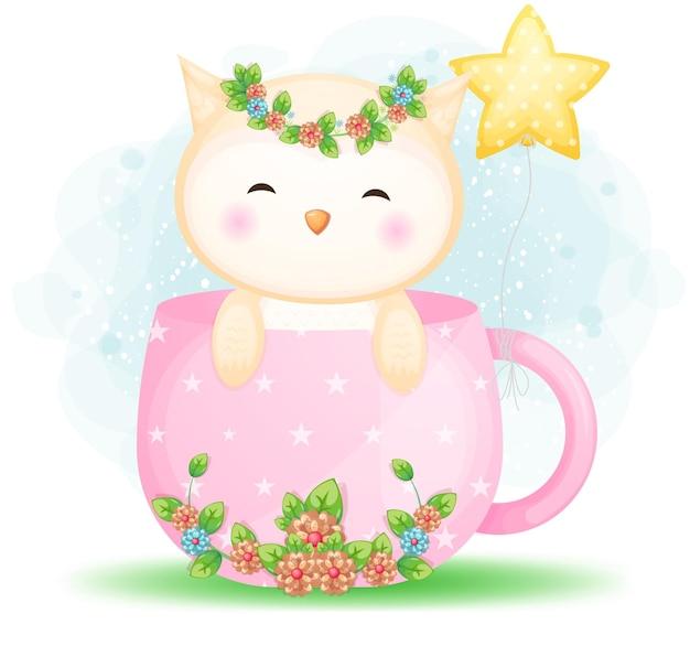 Chouette bébé mignon doodle en dessin animé de tasse