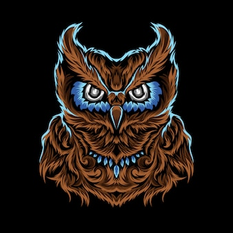 Chouette brune aux yeux bleus de vecteur unique