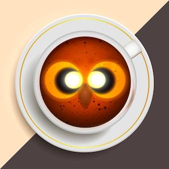 Chouette buvant du café
