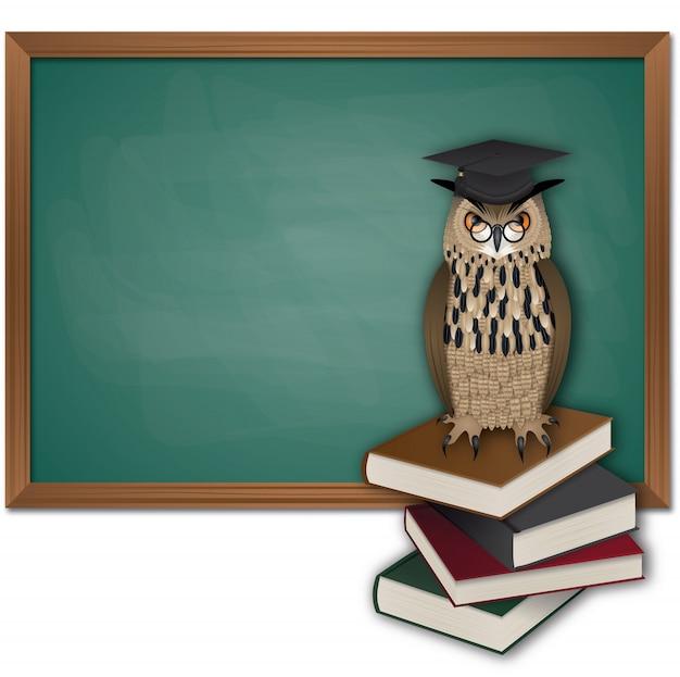 Chouette avec chapeau de graduation sur une pile de livres et tableau noir