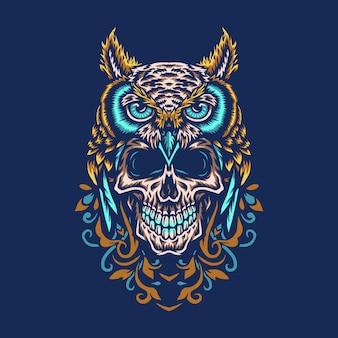 Chouette avec crâne, ligne dessinée à la main avec couleur numérique, illustration
