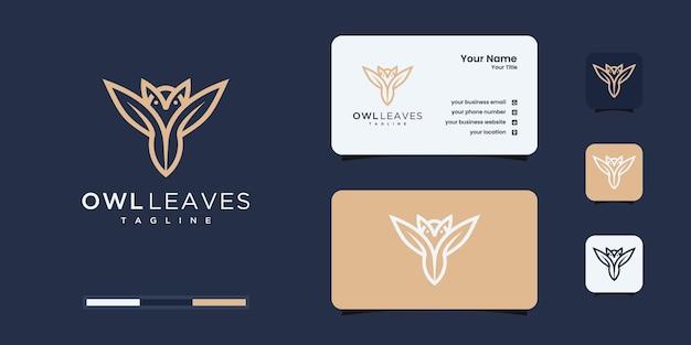 La chouette créative et la nature laisse la combinaison de logo.