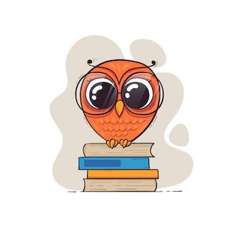 Chouette dessin animé mignon dans des verres avec des livres.