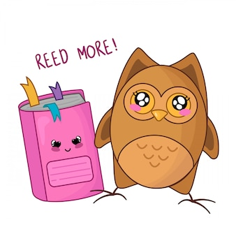 Chouette dessin animé mignon kawaii avec un cahier rose, retour à l'école