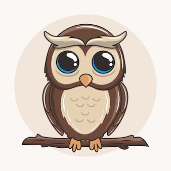 Chouette dessin animé mignon oiseau animaux