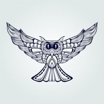 Chouette dessin au trait bleu foncé en vol