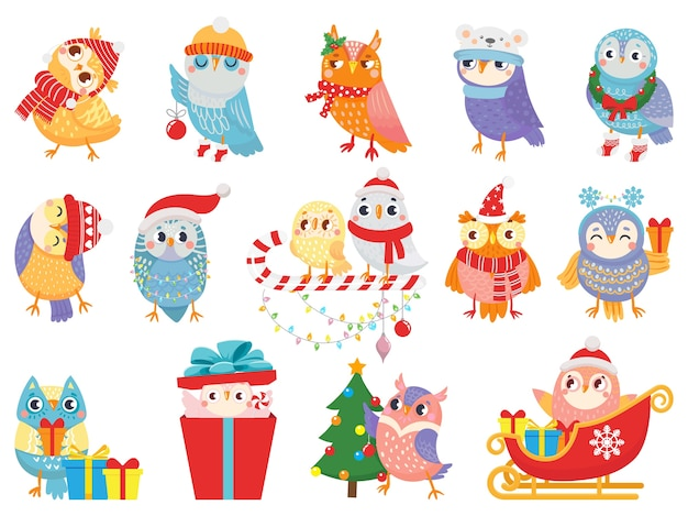 Chouette d'hiver. oiseaux de noël mignons, chouettes en écharpe et chapeau et mascotte d'oiseau.