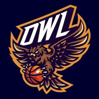 Chouette avec logo mascotte de basket-ball pour le sport et l'esport isolé