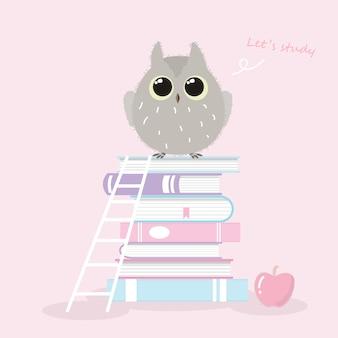 Chouette mignon debout sur la pile de livres style dessiné à la main