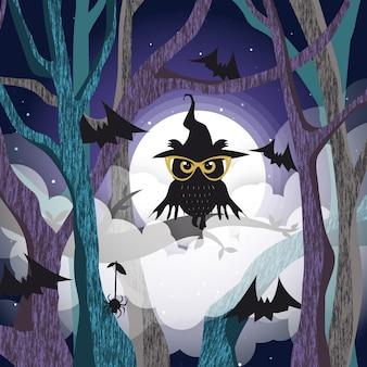Chouette noire sur le fond de l'arbre de la pleine lune