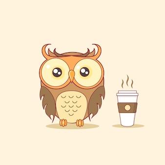 Chouette de nuit avec vapeur illustration vectorielle de tasse à café