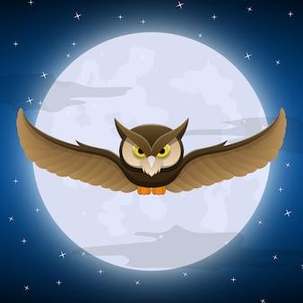 Chouette volant avec la pleine lune et le ciel étoilé