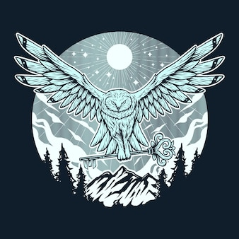 Chouette voler avec la main de la forêt de montagne clé dessin illustration vintage