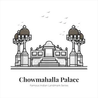 Chowmahalla palace indien célèbre monument emblématique dessin animé ligne art illustration