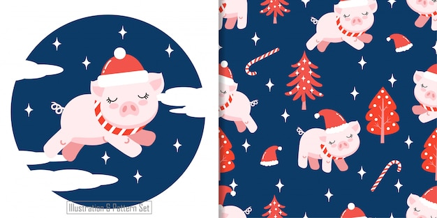 Christhttps: //cdn-contributor.freepik.com/qeyqey/3903005/previews/626/pig1-01.jpgmas motif sans soudure mignon cote hiver pig
