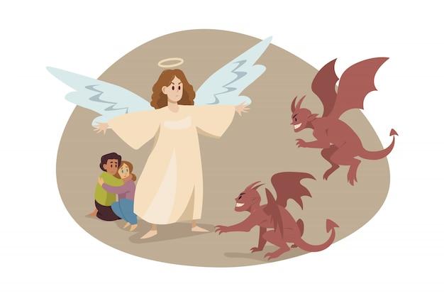 Christianisme religion, concept de diable de protection.