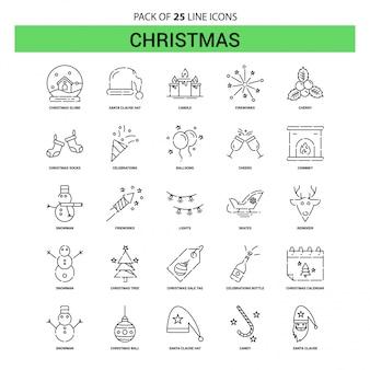 Christmas line icon set - 25 style de contour en pointillé