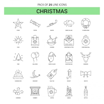 Christmas line icon set - 25 style de contour en pointillé