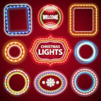Christmas neon lights cadres avec un espace de copie set2