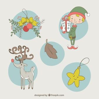 Christmas set avec des ornements mignons