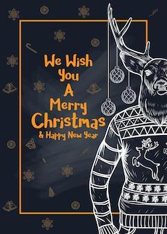 Christmas set vector illustration à la craie sur un tableau noir