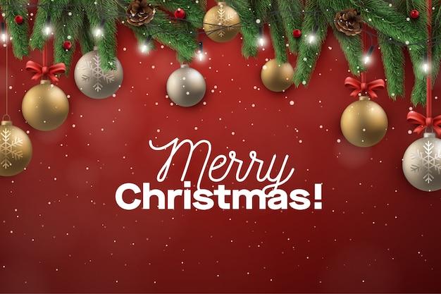Christmast greeting frame background avec décoration de ballon