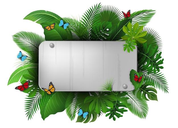 Chrome signer avec espace texte de feuilles tropicales et de papillons.