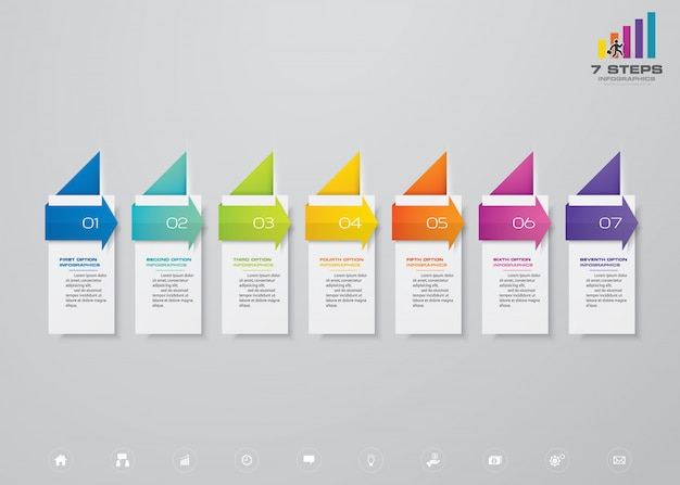Chronologie en 7 étapes avec élément infographie de flèche.