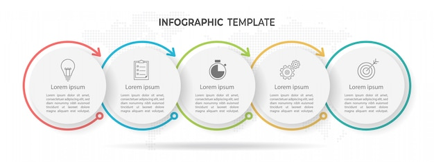 Chronologie cercle infographique 5 options