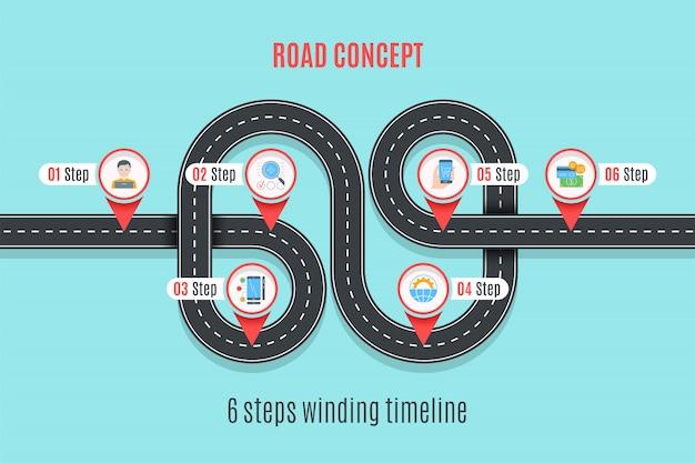 Chronologie de concept de route, graphique infographique, style plat