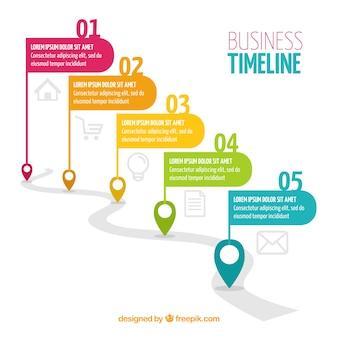 Chronologie de l'entreprise coloré avec un design plat